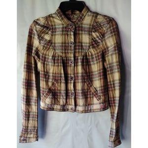 Free People Linen Blend Short Jacket Beige Plaid